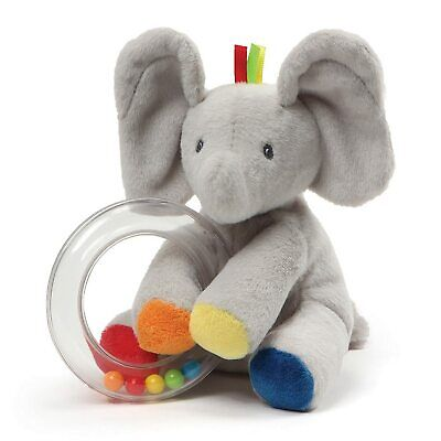 "New Baby Gund 5"" Flappy the Elephant Stuffed Plush Animal Rattle - Gery Rainbow"
