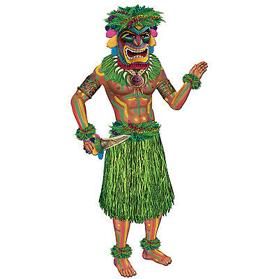Hawaiian Luau JOINTED TIKI MAN Diecut CUTOUT Party Decoration Tropical Island ()
