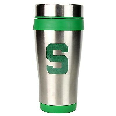 MICHIGAN STATE SPARTANS MUG COFFEE CUP STAINLESS STEEL TRAVEL TUMBLER W/LID 16OZ