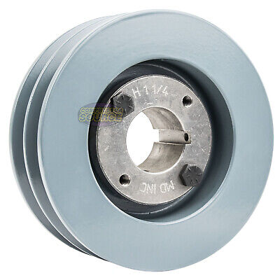 Cast Iron 4.75 2 Groove Dual Belt B Section 5l Pulley W 1-14 Sheave Bushing