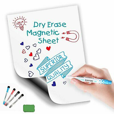 17x12 Magnetic Refrigerator Dry Erase Blank Board Note With 4 Markers 1 Eraser