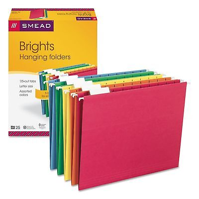 Smead 15 Tab Brights Jewel Color Hanging File Folders 25ct Assortment Adjustabl
