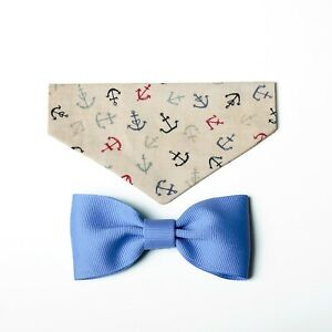 Nautical Over the Collar Bandana with Matching Bow Tie