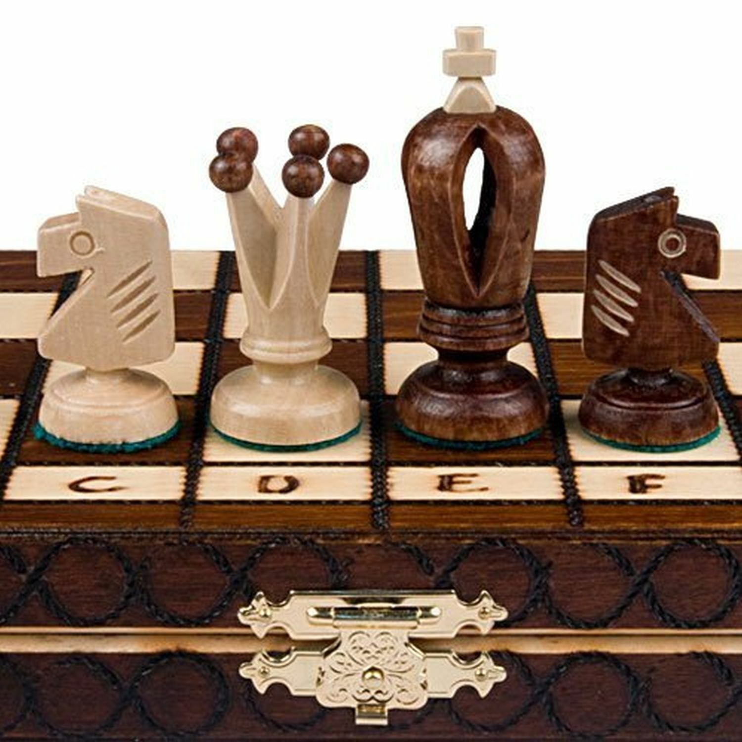 Buy Best Wooden Chess Set Wood Board Hand Carved Made Folding Game Vintage Crafted Pieces.