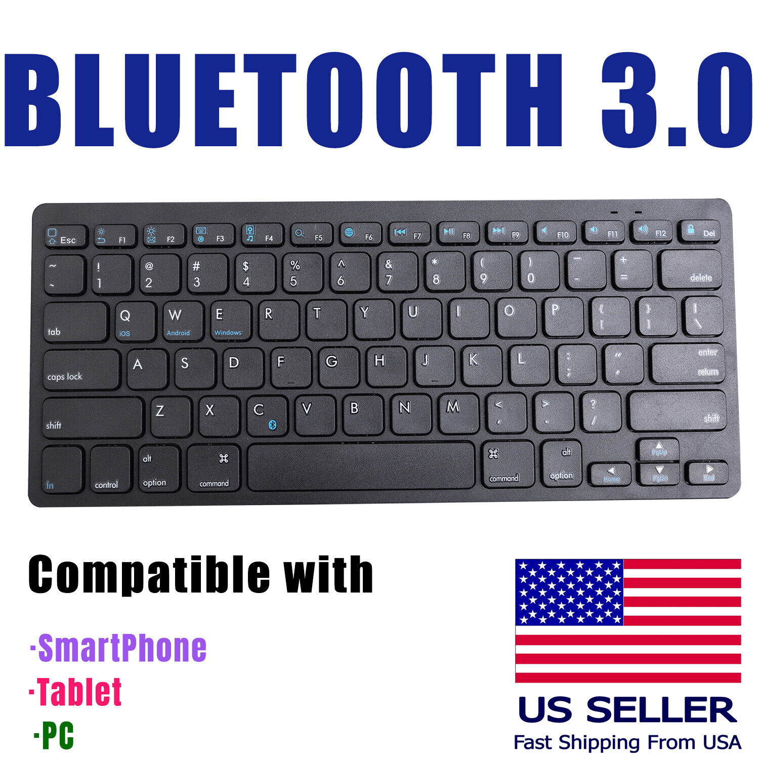 Wireless bluetooth 3.0 keyboard For iPad Mini tablet iPhone android  PC Smartpho Computers/Tablets & Networking