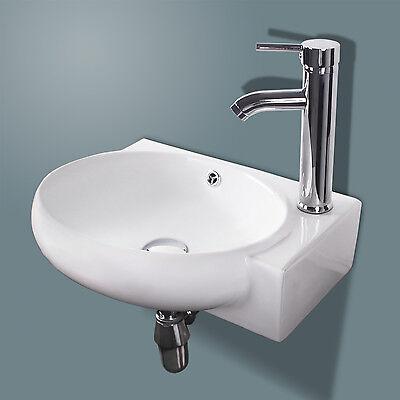 Corner Sink - New Bathroom Ceramic Vessel Sink White Porcelain Corner Wall Mounted & Faucet
