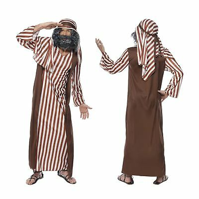 Christmas Festive Nativity Adult Costume Shepherd Joseph Outfit Hat Robe