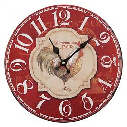 Vintage Wood French Paris Rooster Chicken Designed Wall Clocks Antique  Decor