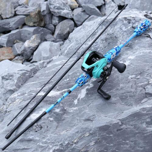 Camouflage Fishing Rod And Reel Combo Set Portable 3 Section Casting Travel new!