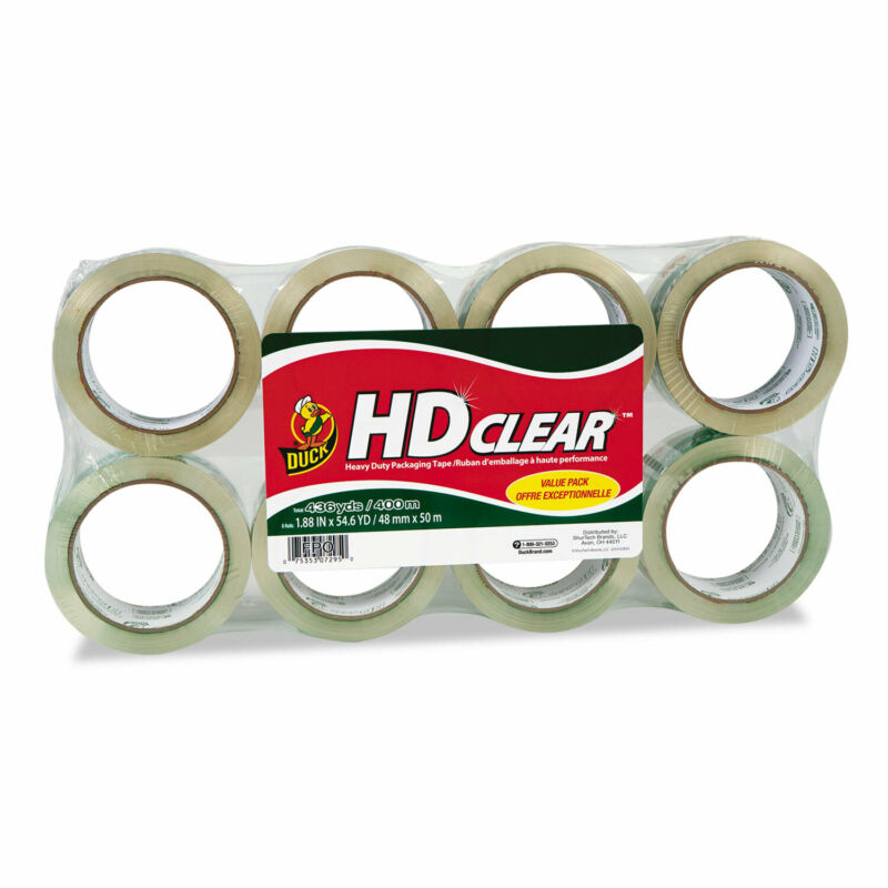 """Duck Heavy-Duty Carton Packaging Tape 1.88"""" x 55 yards Clear 8/Pack 282195"""