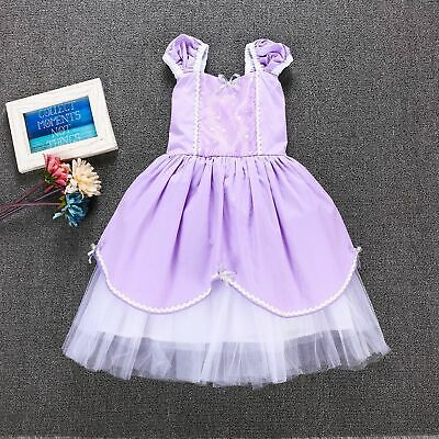 Sofia The First Toddler Baby Girl Princess Tutu Dress Cosplay Party Costume ZG9 (Sofia The First Dress)