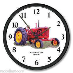 New MASSEY HARRIS Model 44 Tractor Wall Clock 1949 Restored Red Tractor 10 Roun