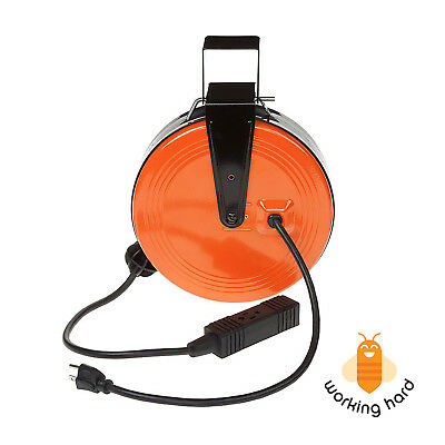 RETRACTABLE ELECTRIC CORD REEL 30 Ft 3 Outlets Heavy Duty Extension Cable Garage