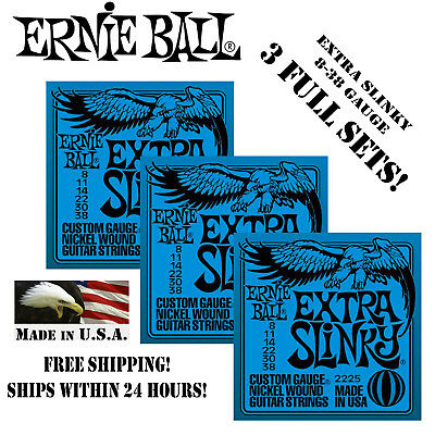 ** 3 SETS! ERNIE BALL EXTRA SLINKY ELECTRIC GUITAR STRINGS 2
