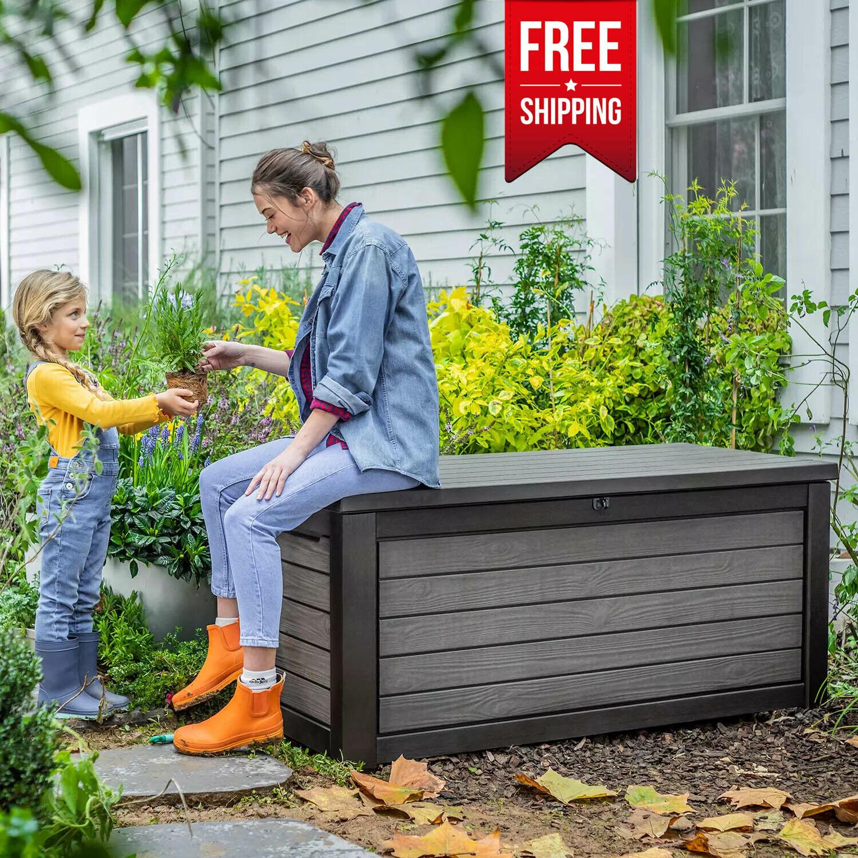 KETER Weatherproof Patio Garden Pool Storage 165 G Resin Out