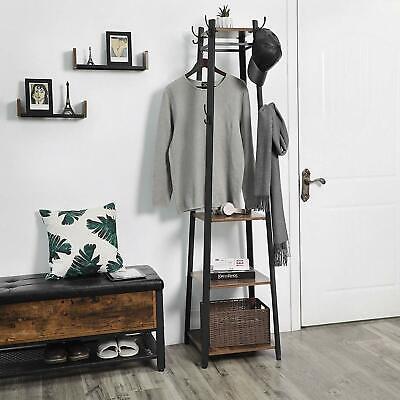 71in Hall Tree Coat Rack Furniture Vintage Storage Entryway Stand Shelves -