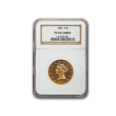 Click now to see the BUY IT NOW Price! 1862 $10 LIBERTY GOLD EAGLE PF 64 CAMEO NGC