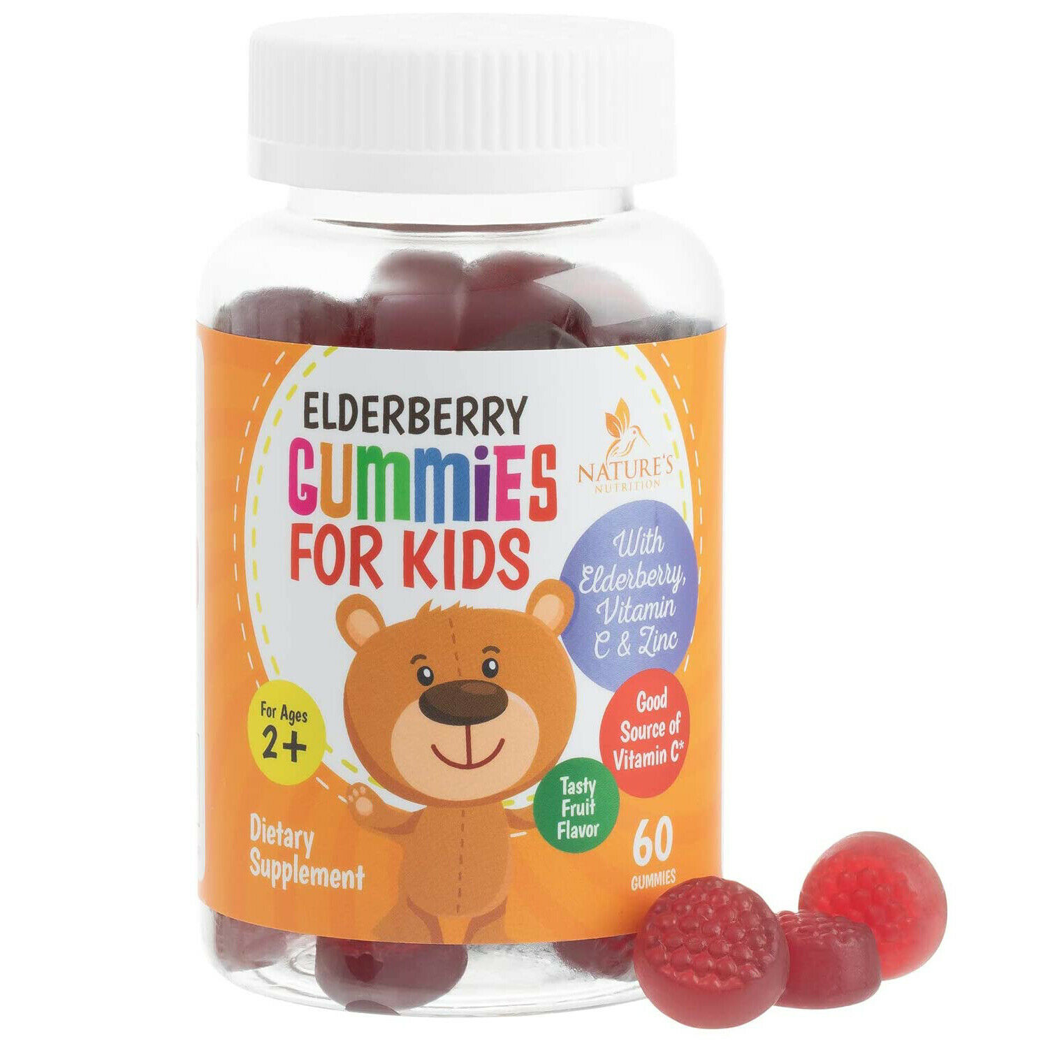 Sambucus Elderberry Gummies Kids Vitamins Immune Support with Vitamin C & Zinc