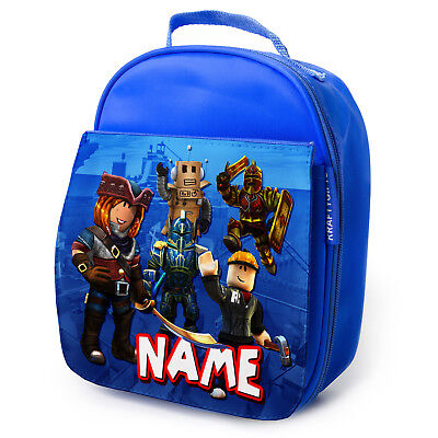 PERSONALISED Lunch Bag ROBLOX GAMER Insulated Blue School Kids Snack Box RB01