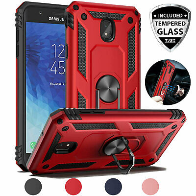 For Galaxy J7 Star/Crown/V 2018 Case, Magnetic Support Metal Ring+Tempered -