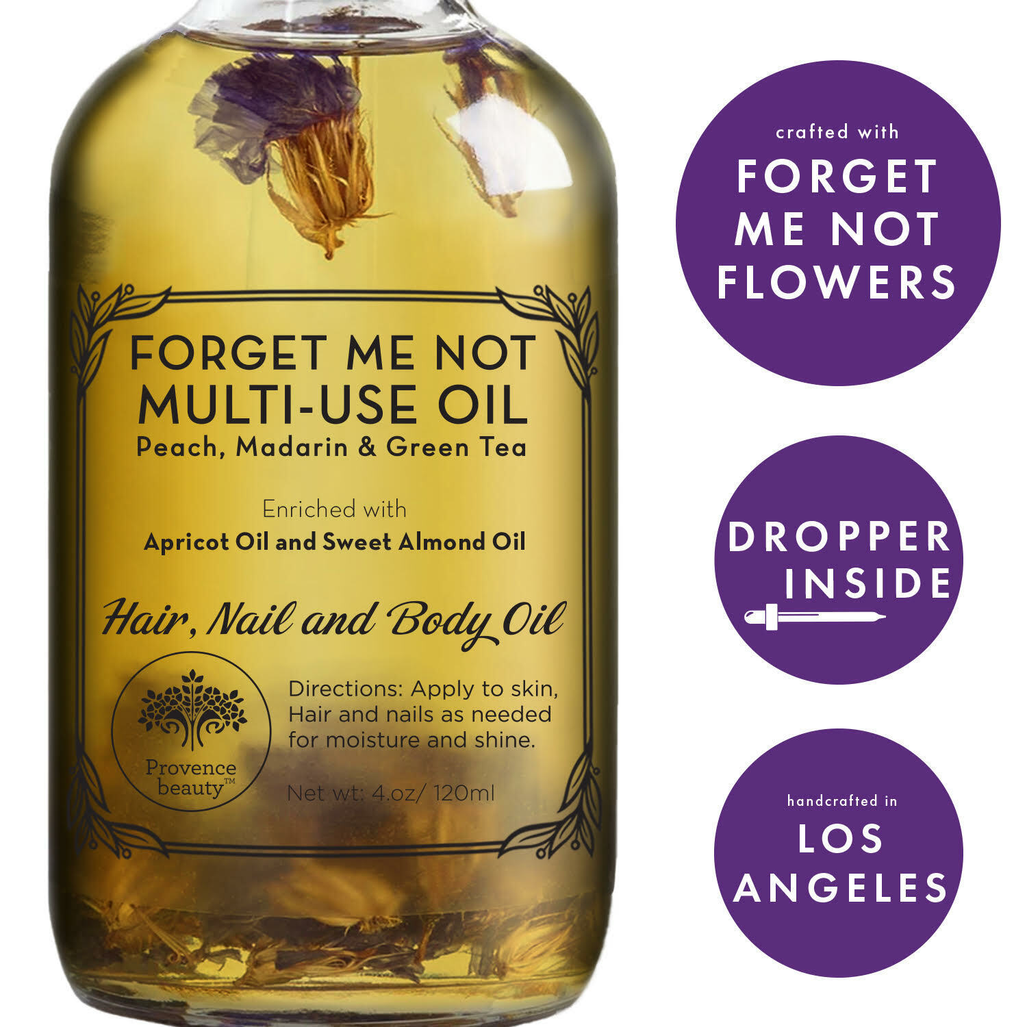 Provence Beauty FORGET ME NOT Oil | 100% Natural | Moisturizing & Hydrating 4 OZ