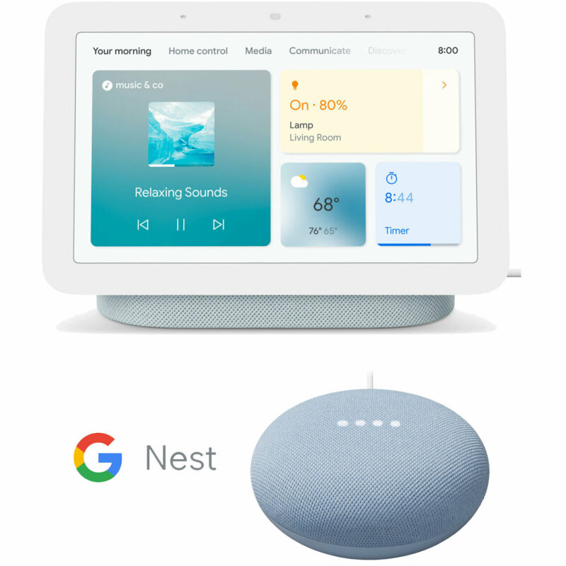 Google Nest Hub Smart Display, Mist (2nd Gen) with Mini Speaker Bundle