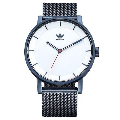 New In Box Adidas DISTRICT_M1 NAVY/SILVER SUNRAY/RED Men's Wrist WATCH CK3125