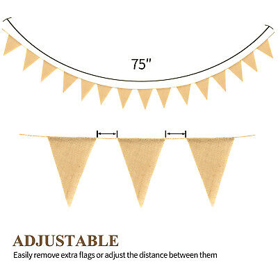 - Novelty Place 15Pcs Burlap Banner - 14 Ft Triangle Flag- DIY Hand Painted Home