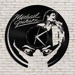 Michael Jackson Art Clock Wall Design Retro Vinyl Record Handmade Gift For Fans
