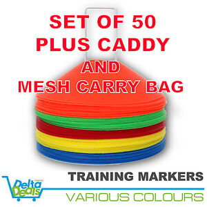 50-DISC-MARKERS-TRAINING-CONES-FOOTBALL-SOCCER-RUGBY-AFL-TOUCH-GROUP-FITNESS