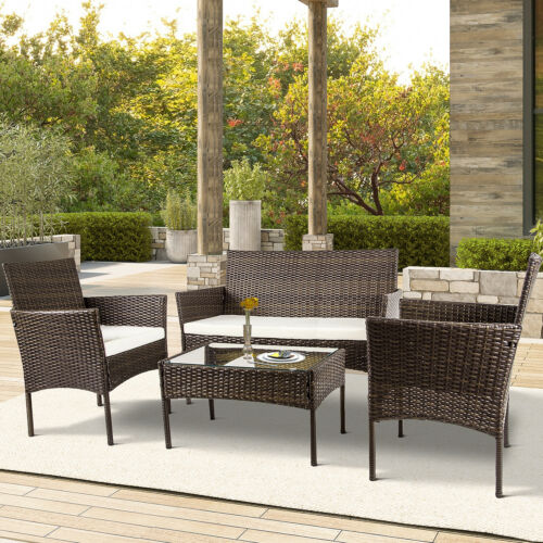 Garden Furniture - 4PCS Patio Rattan Wicker Furniture Set Cushioned Chair Glass Table Top Garden