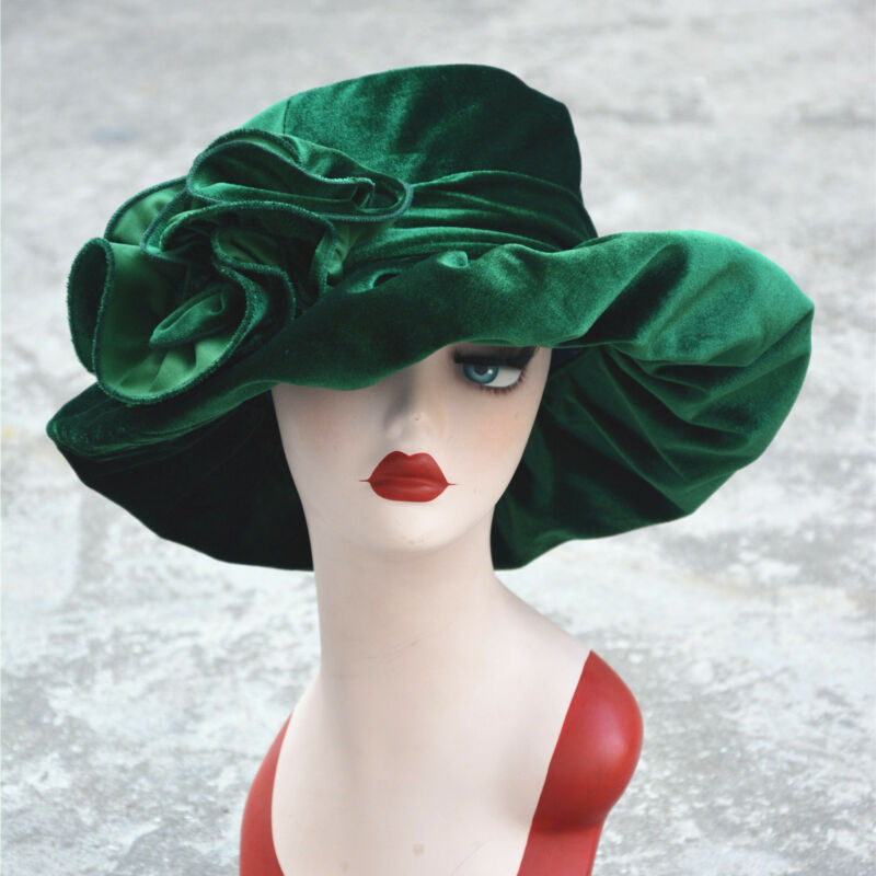 Womens Vintage Style Velvet Kentucky Derby Formal Church Dress Wedding Hat A389