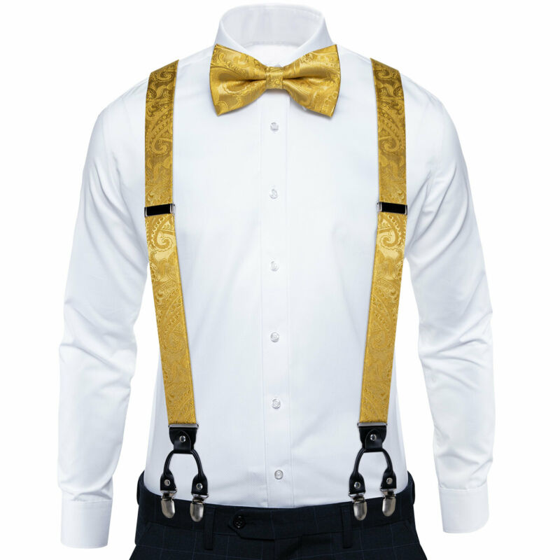 Dibangu Mens Suspenders Adjustable Braces Bow Tie Pocket Square Cufflinks Set