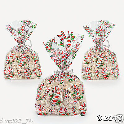 Candy Cane Goody Bags (24 CHRISTMAS Party CELLO Cellophane Goody Treat Loot BAGS CANE CANDY CANE ~ NEW )