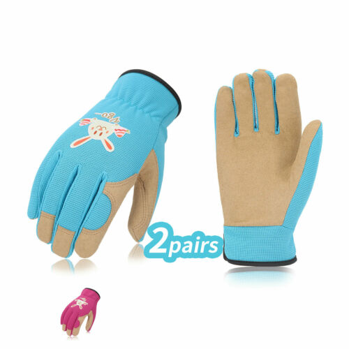 Vgo 2 Pairs Kids Gardening, Lawning, Working Gloves(2Colors, KID-SL7362)