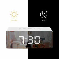 LED Digital Mirror Alarm Clock USB Battery Powered With Date Thermometer Show
