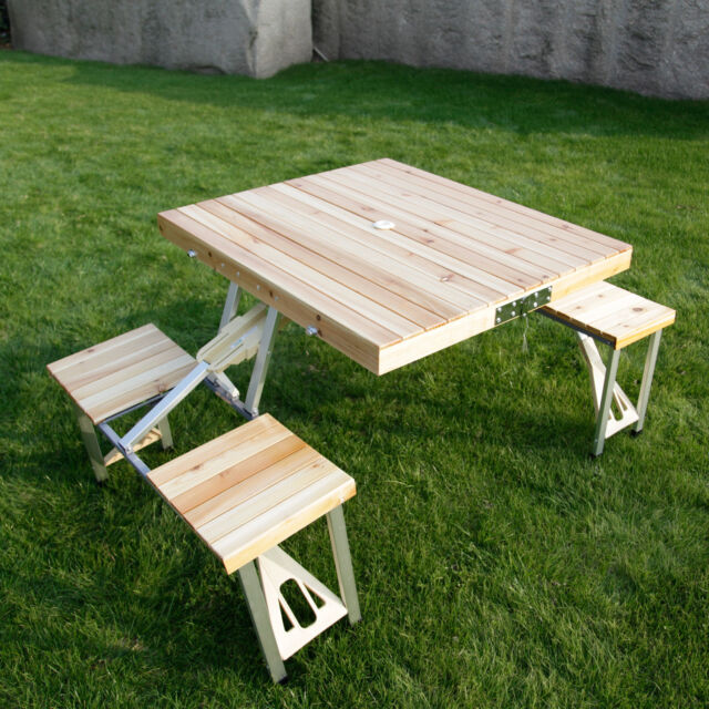 Wooden Folding Table Portable Outdoor Kid Picnic Camp Garden Party Table,4  Seats Part 11