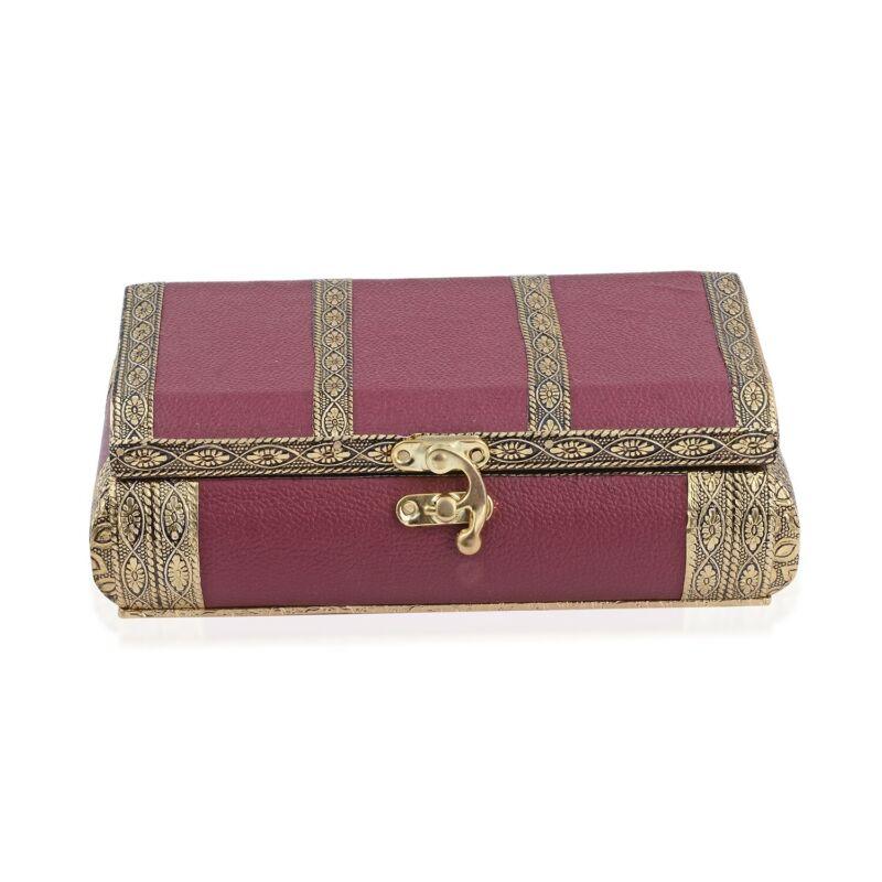 Burgundy Faux Leather Oxidized Jewelry Organizer Box Storage Scratch Protection