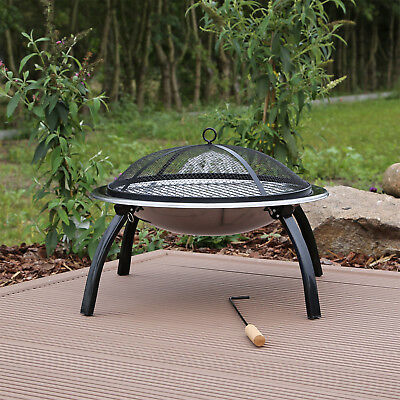 CLGarden Feuerschale FS1 aus Edelstahl mit Grill Garten Feuerkorb Feuer Schale