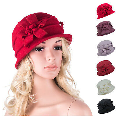 Womens Ladies 1920s Winter 100% Wool Cap Crochet Bucket Church Floral Hat A219