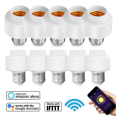 WiFi Smart Light Bulb Socket Adapter E27 E26 Switch W/ Google Home Alexa IFTTT ()