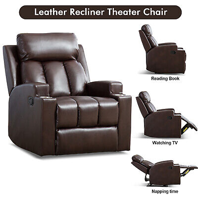 Leather Recliner Chair w/2 Holders Thick Back Home Office Theater Seating Sofa