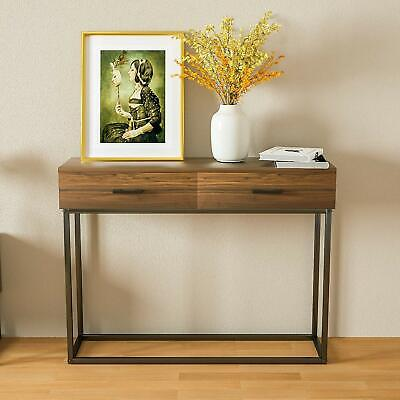 Modern Wood End Table Sideboard Buffet Storage Cabinet w/2 Drawers Living Room Modern Buffet Cabinet