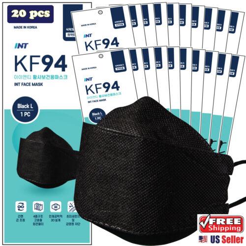 【 20 Pack 】 INT KF94 Certified BLACK Face Mask, 4 Layered, 3D Ergonomic Mask