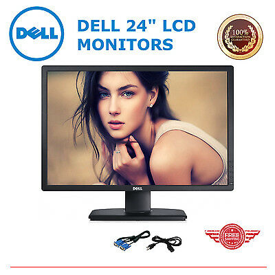 "DELL LARGE 24"" Widescreen LCD Monitors (B) w/ cables Gaming TFT  for Computer PC"