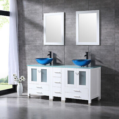 Bathroom Cabinets Countertops - 60'' White Bathroom Vanity Cabinet Double Glass Sink w/Faucet Mirror Counter Top