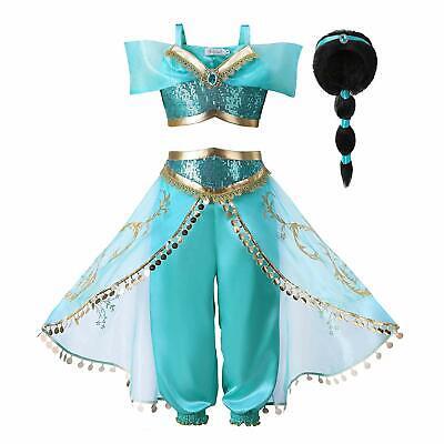 Princess Christmas Dresses (Aladdin Costume For Princess Jasmine Cosplay Christmas Outfit Girls party )