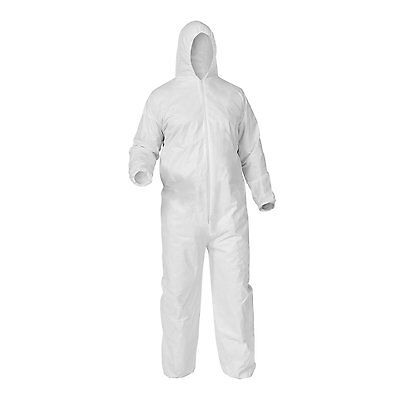 Shield Safety Disposable Polypropylene Coverall with Hood, White Large (25 Pcs)