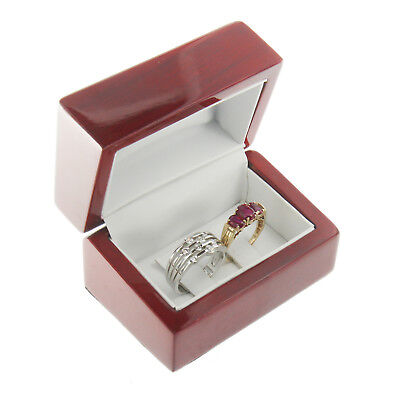 Deluxe Cherry Rosewood Double Ring Clip Box Display Wood Wooden Jewelry Gift Box Deluxe Double Gift Box