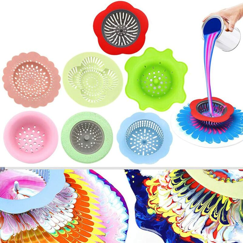 Acrylic Pouring Strainers, 7 PCS Flow Painting Tools Drawing Flow Fluid Set